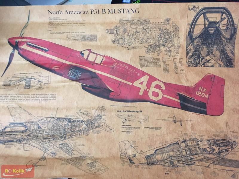 P51 B Mustang Poster ve Uçağın Gerçek Ölçü Detayları